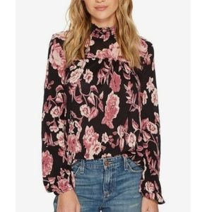 Lucky Brand mock neck floral long sleeved blouse
